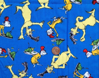 Green EGGS & Ham, Sam I Am ~ Dr. Seuss ~ Robert Kaufman Fabric ~100% Cotton Fat Quarter /FQ