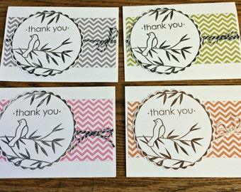 Assorted thank you cards / thank you cards / Pretty Bird Thank You cards - any 4