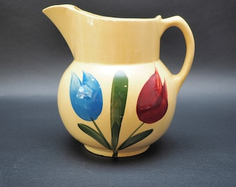 Watt Pottery Double Tulip #17 Pitcher with Ice Lip, Red and Blue Tulip, Green Leaves, Vintage 1961 - 1965 Stoneware Water Jug