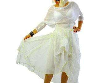 Long Extravagant skirt/White summer Original Parachute fabric skirt/Woman skirt/Asymmetrical white skirt/Casual long woman skirt/ S1232