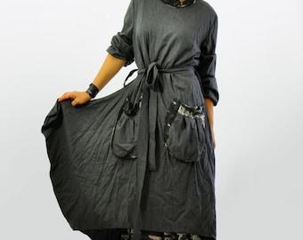 Maxi wool dress/Long extravagant dress/Loose wool dress/long sleeves dress/dress with pockets/Handmade dress/Winter day dress/D1298