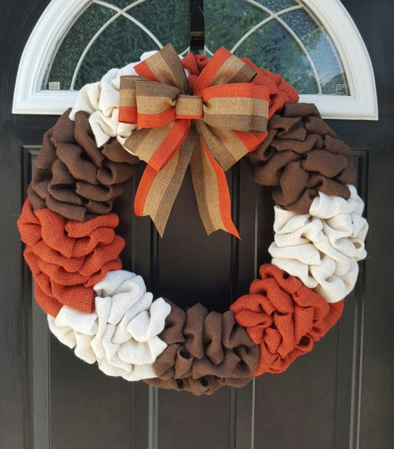Fall Wreath, Fall Decor, Burlap Wreath, Thanksgiving wreath, Harvest Wreath, Burnt Orange wreath, Front door wreath, Autumn wreath