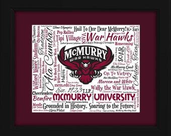 McMurry University 16x20 Art Piece - Beautifully matted and framed behind glass
