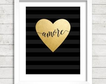 Amore in Gold Foil Heart Black Stripes Digital Printable Wall Decor- Instant Download