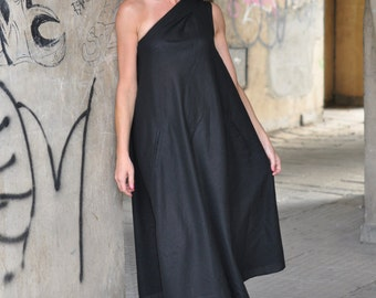 Black Women Dress, One Shoulder Dress, Summer Long Maxi Dress, Party Dress, Sleeveless Dress, Wedding Dress, Loose Dress, Plus Size Dress