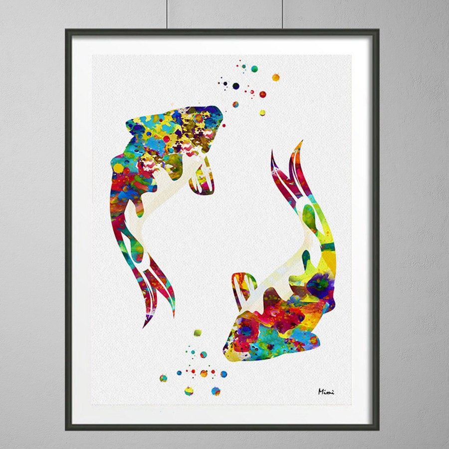 Koi fish watercolor print sealife art ocean life by mimiprints for Koi carp wall art