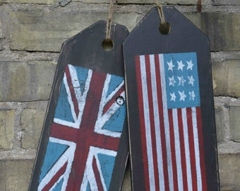 Front door decoration.  American flag/ British flag.  Large wooden tags.  Union Jack sign.