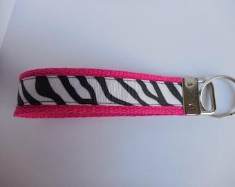 Hot Pink Key Fob with Zebra Stripes