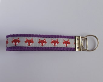 Purple Key Fob with Foxes