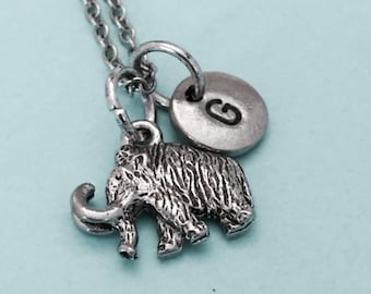 Mammoth necklace, mammoth charm, wooly mammoth, animal charm, ice age, personalized necklace, initial necklace, monogram