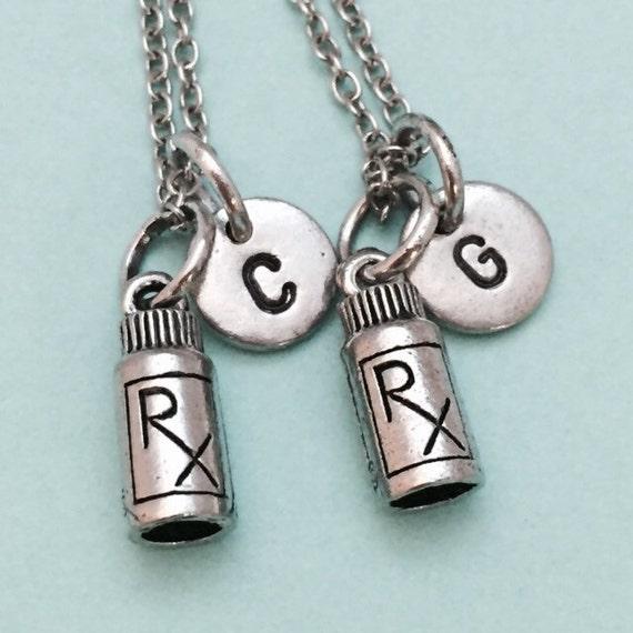 Best friend necklace medicine bottle charm pharmacist bff for Pill bottle jewelry