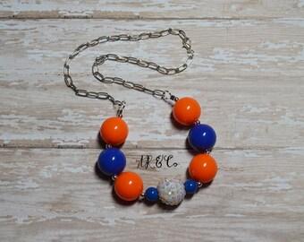 Florida Gators Blue and Orange Bubblegum Necklace