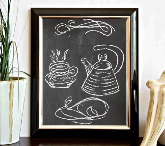 Tea coffee pot and teacup chalkboard printable kitchen art for Tea and coffee wall art