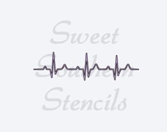 Heart Beat Rhythm Stencil