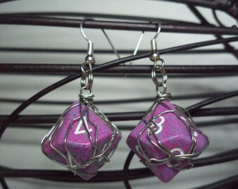 Wire Wrapped Pink & Purple 10 sided (D10) Dice Earrings