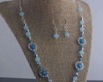 Blue Ocean and Silver Necklace and Earring Set