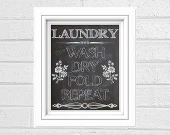 "Chalkboard Laundry Room Printable 8x10"" and 5x7"" Wall Decor"