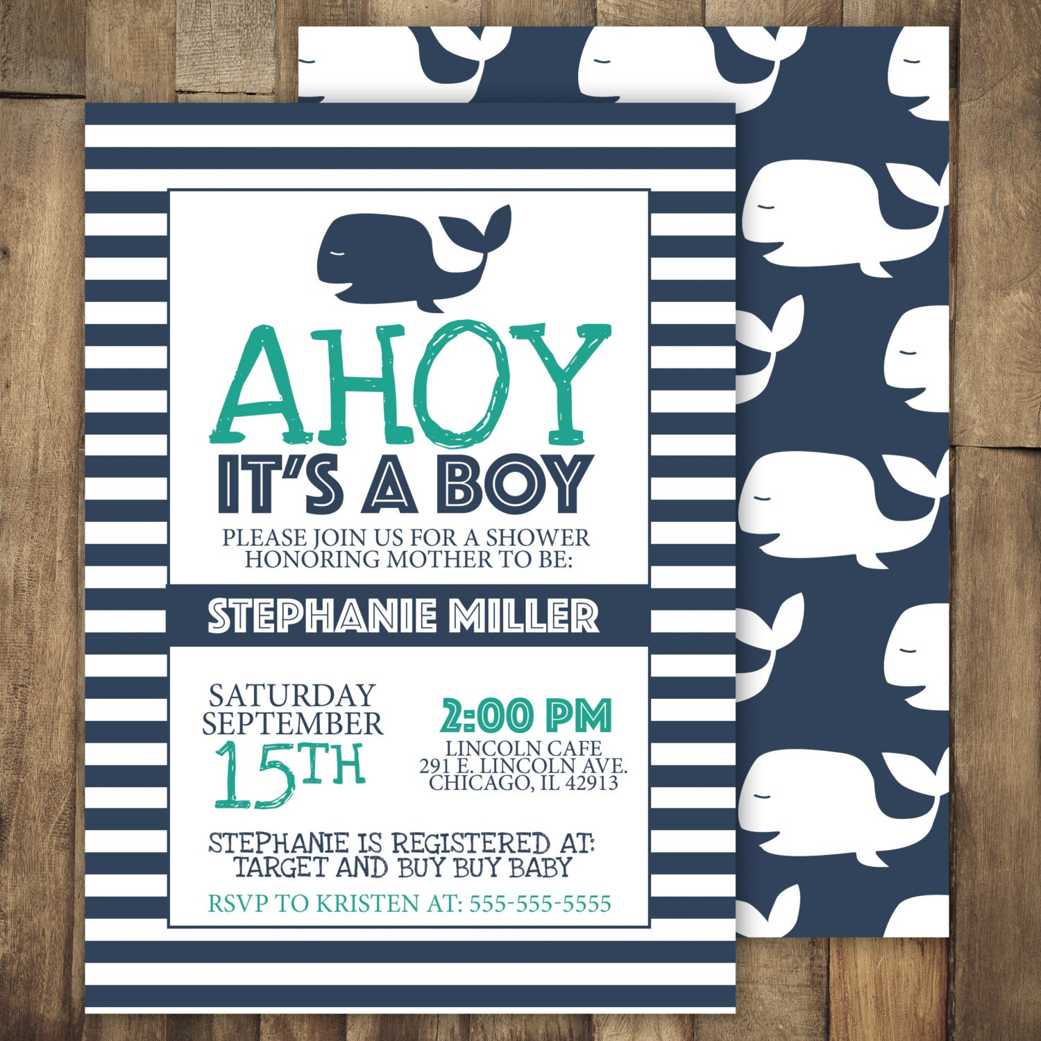 Ahoy It39;s A Boy Baby Shower Invitation Whale by JordanSantosDesign