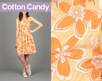 Cute Vintage 50s Style Orange Floral XS / Small Knee Length Sleeveless Dress