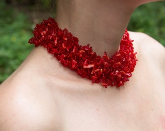 Elegant Red Beaded Necklace with Natural Coral