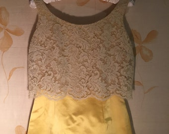 Pretty satin and lace 1960s vintage evening dress