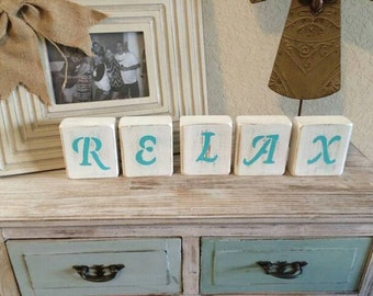 Relax wood block letters