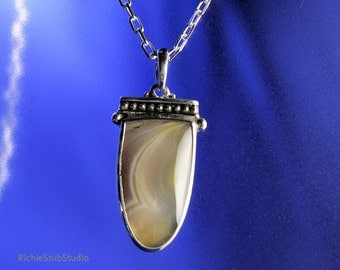 Banded Agate Pendant Necklace Sterling Silver