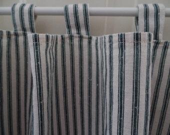 Vintage Valance: Dark Green Cotton Ticking, Curtain, Window Treatment