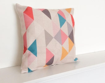 "Multi Coloured Triangles Geometric/Scandinavian Cotton Linen Cushion/pillow Cover 18 x 18"""