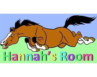 Kids Personalised Horse Door Sign