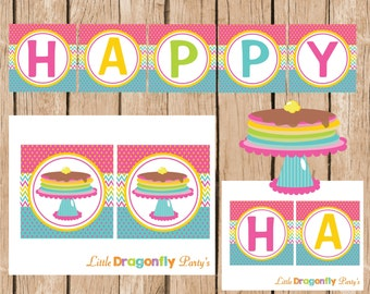 Pancakes Happy Birthday Banner, Printable, DIY,  Instant Download