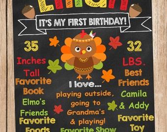 Little Turkey Birthday Milestone Chalkboard