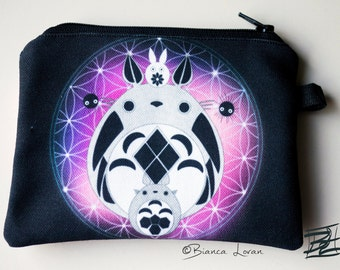 Totoro Of Life Zippered Pouch - sacred geometry flower of life ghibli anime artwork - Coin Purse Wallet - Bianca Loran Art