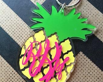 Pineapple Monogram Keychain Personalized