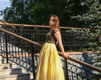 Maxi skirt. Yellow linen. Boho skirt.Pleated Skirt.Многослойная юбка в пол ,