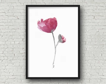"GICLEE PRINT, Magenta and Maroon Tulip Flower Watercolor Painting, Print for Sale, ""Kindness Overflowing"""