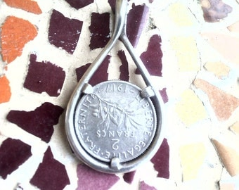 French 2f semeuse 1917 old silver coin pendant
