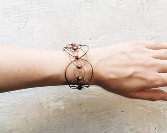 Woven Guitar String and Copper Wire Bracelet