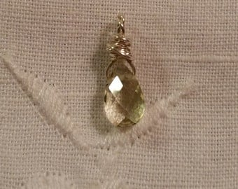 Faceted Citrine Briolette Sterling Silver Charm