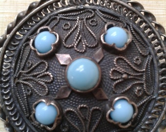 Antique brooch / pendant with turquoise stones