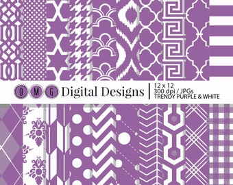 Purple Digital Paper, Trendy Purple Digital Scrapbook Paper, Digital Scrapbooking Paper, Decorative Paper, Digital Paper Pack, Digital Paper
