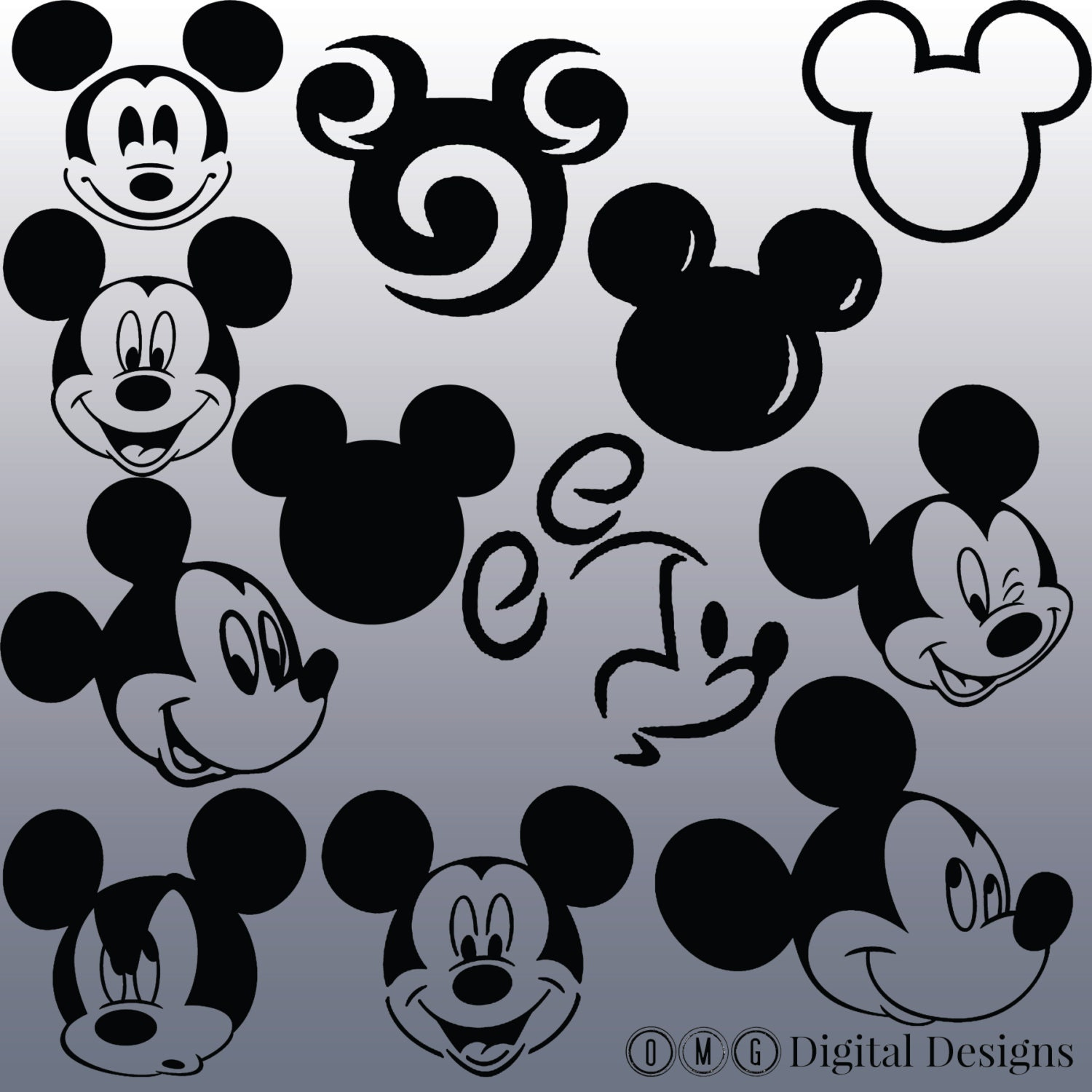 12 Mickey Mouse Head Silhouette Clipart Images Design
