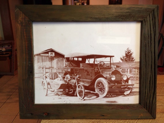 Reclaimed Barn Wood Car and Motorcycle Picture Frame