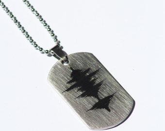 YOUR Waveform Laser Marked on Stainless Steel Rectangular Dog Tag Necklace