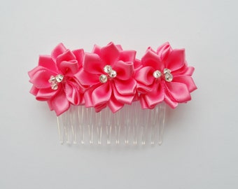 Pink Flower And Crystal Handmade Hair Comb
