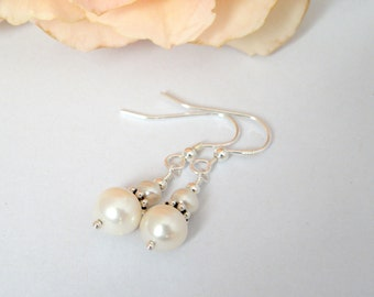 Pearl and sterling silver bead earrings