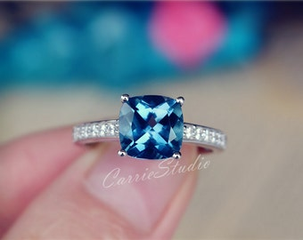 Cushion Natural London Blue Topaz Ring Topaz Engagement Ring/ Wedding Ring 925 Sterling Silver Ring Promise Ring Anniversary Ring