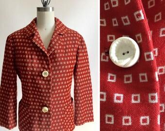 1970s red blazer. 1970s handmade jacket. Tailored vintage blazer.