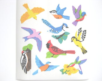 Sandylion Birds Semi gloss paper Stickers - 3 repeat squares