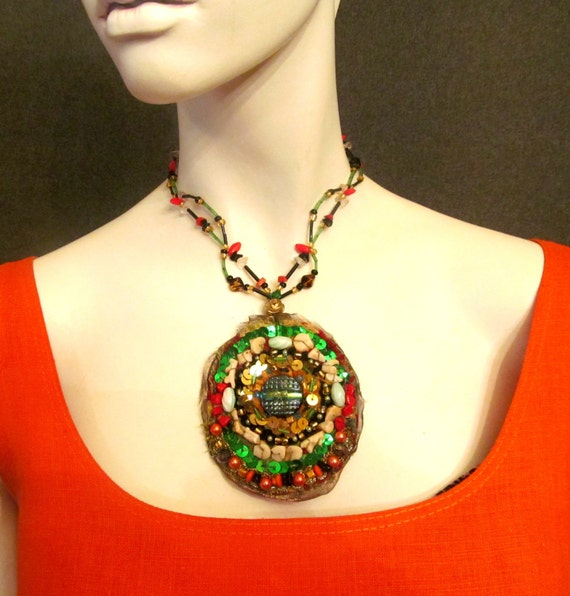 MANDALA  necklace,jewelry, medallion, colours; red, gold,green, black, orange. boho necklace. ready to ship.